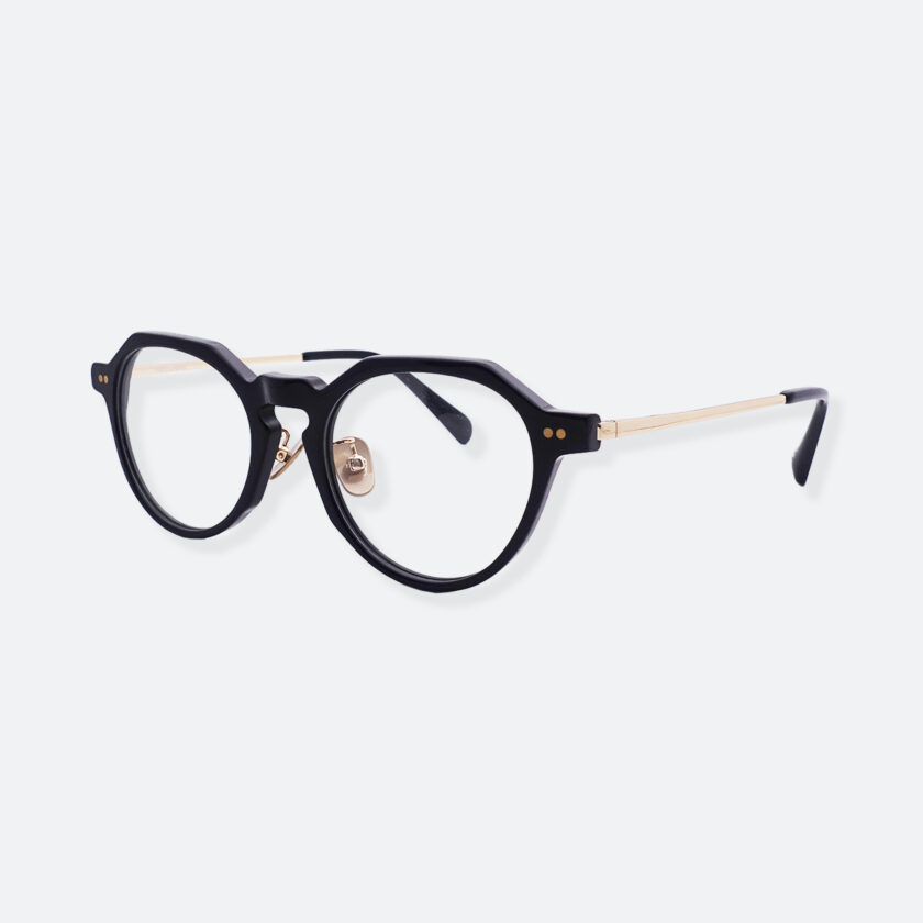 OhMart People By People - Wayfarer Round Acetate / Metal Optical Glasses ( Line Art Of Circle - Gold ) 2