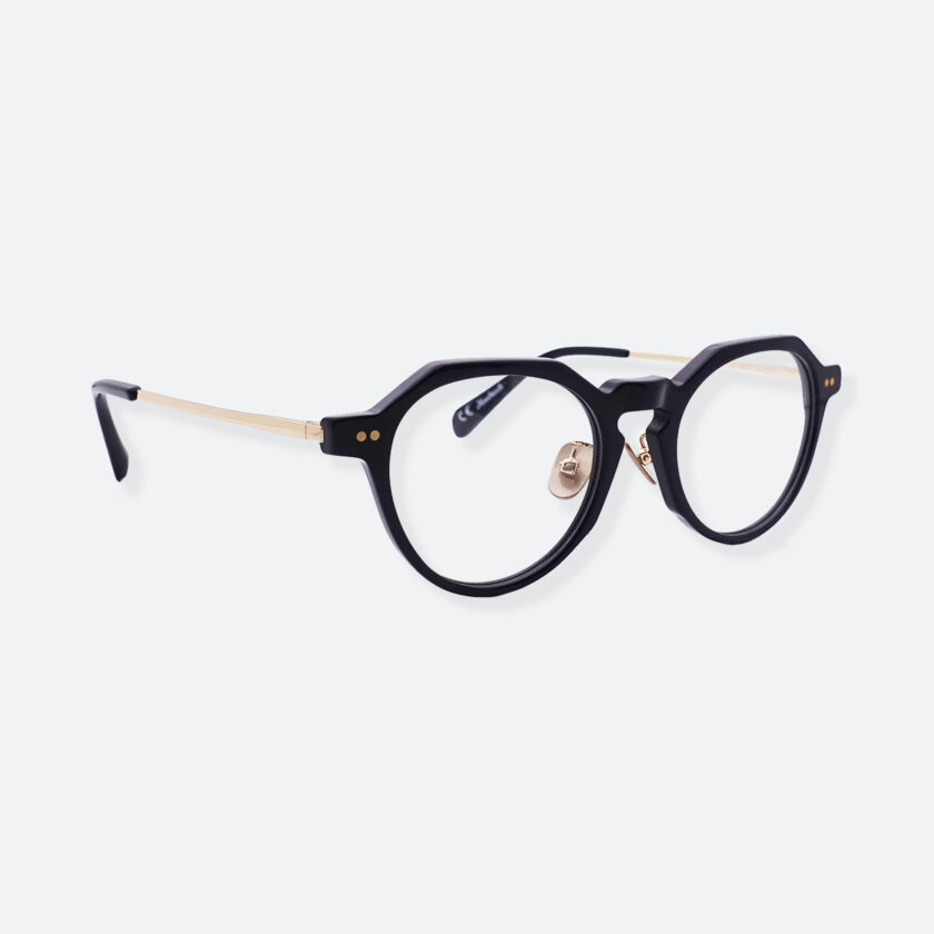 OhMart People By People - Wayfarer Round Acetate / Metal Optical Glasses ( Line Art Of Circle - Gold ) 3
