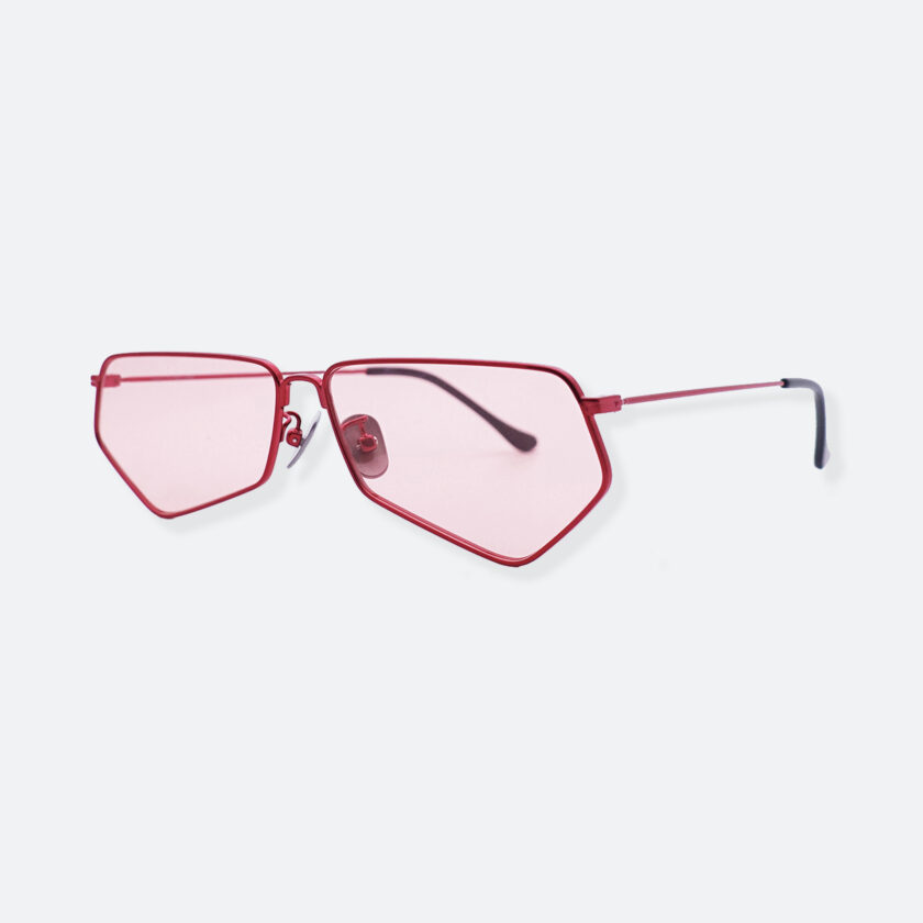 OhMart People By People - Minimal Pentagon Sunglasses ( PS004 col.1 - Pink / Red ) 2