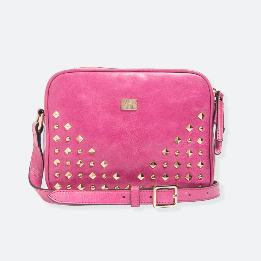 OhMart People by People – Leather Studded Shoulder Handbag ( B006-Pink ) 1