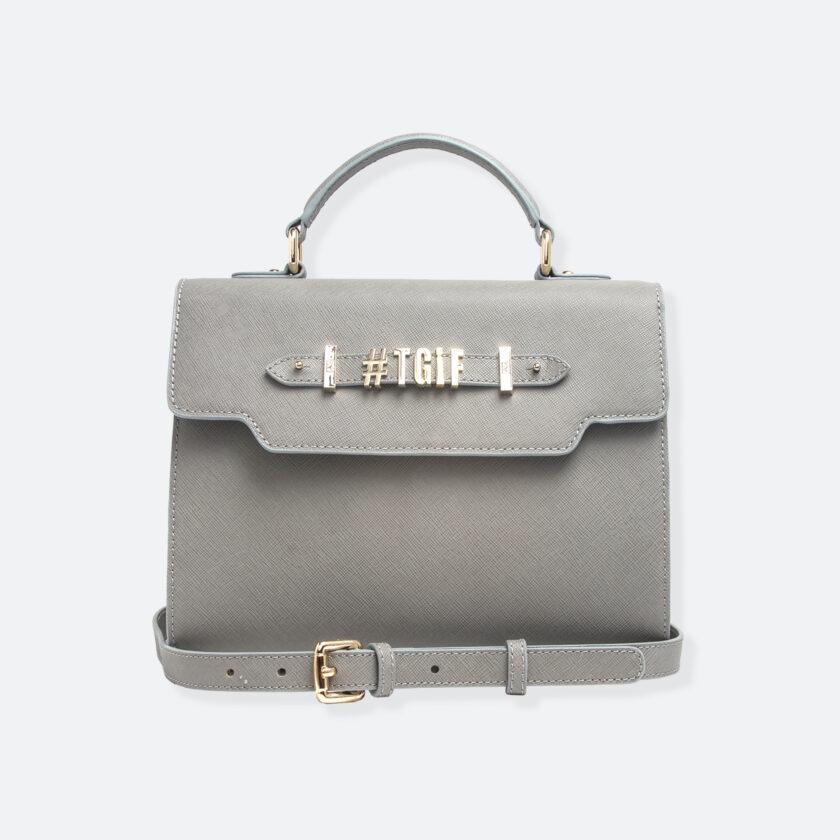 OhMart People By People - Leather Martini Handbag ( Gray ) 1