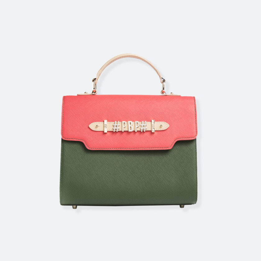 OhMart People By People - Leather Martini Handbag ( Light Pink - Green ) 3