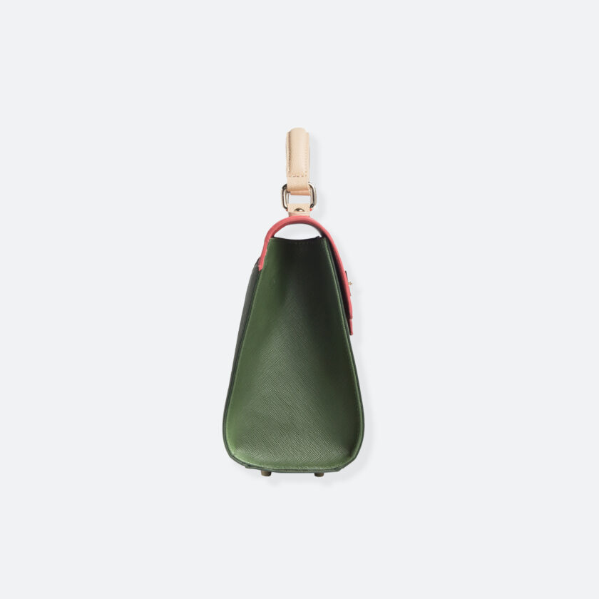 OhMart People By People - Leather Martini Handbag ( Light Pink - Green ) 2
