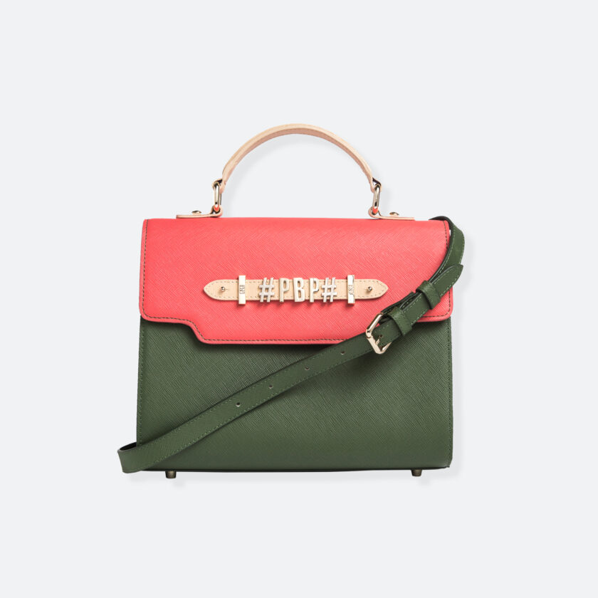 OhMart People By People - Leather Martini Handbag ( Light Pink - Green ) 1