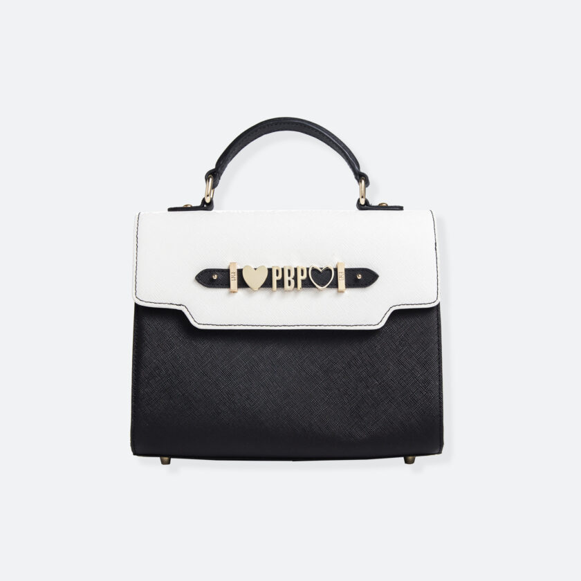 OhMart People By People - Leather Martini Handbag ( White - Black ) 3