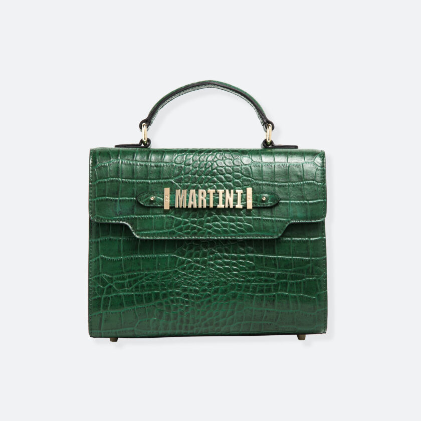 OhMart People By People - Leather Martini Handbag ( Green - Crocodile skin ) 3