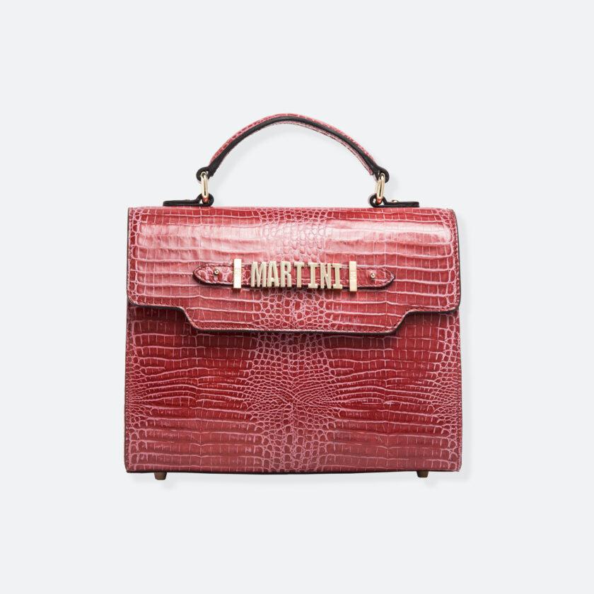 OhMart People By People - Leather Martini Handbag ( Red - Crocodile skin ) 3