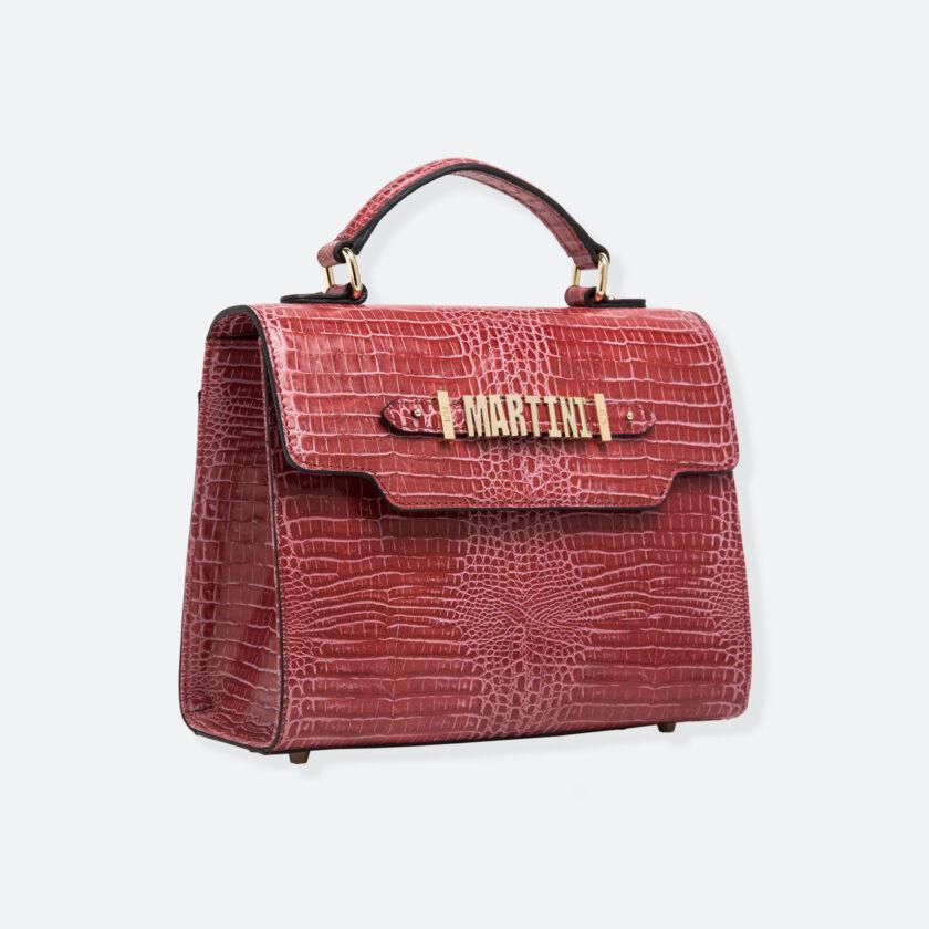OhMart People By People - Leather Martini Handbag ( Red - Crocodile skin ) 2