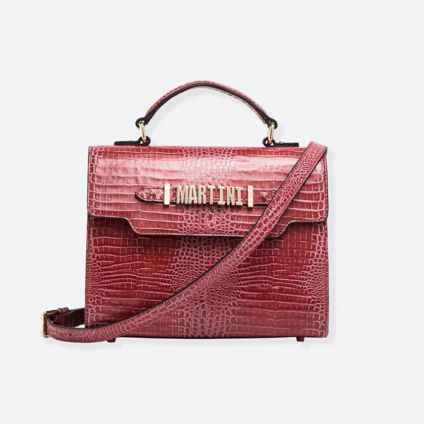 OhMart People By People - Leather Martini Handbag ( Red - Crocodile skin ) 1