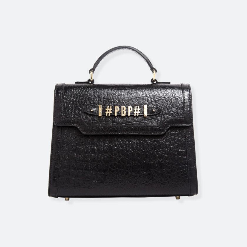 OhMart People By People - Leather Maxi Martini Handbag ( Black - Crocodile skin ) 3