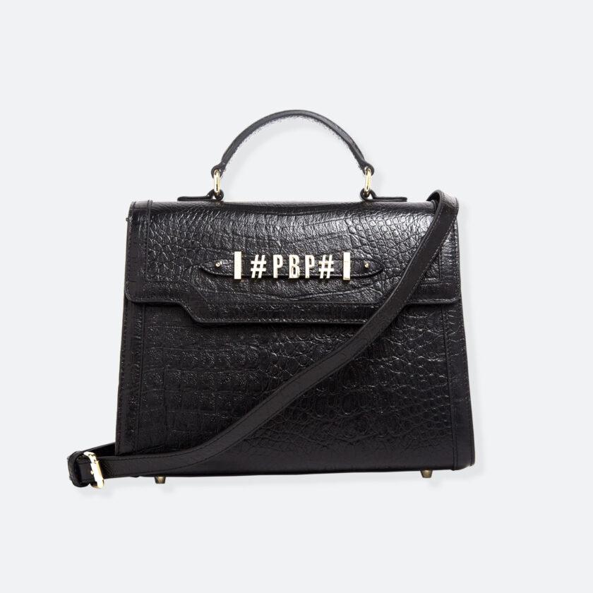 OhMart People By People - Leather Maxi Martini Handbag ( Black - Crocodile skin ) 1