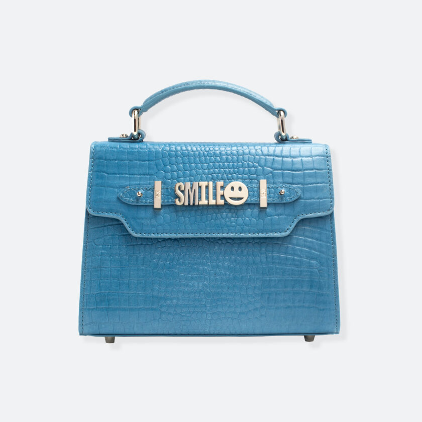 OhMart People By People - Leather Mini Martini Handbag ( Blue - Crocodile skin ) 3