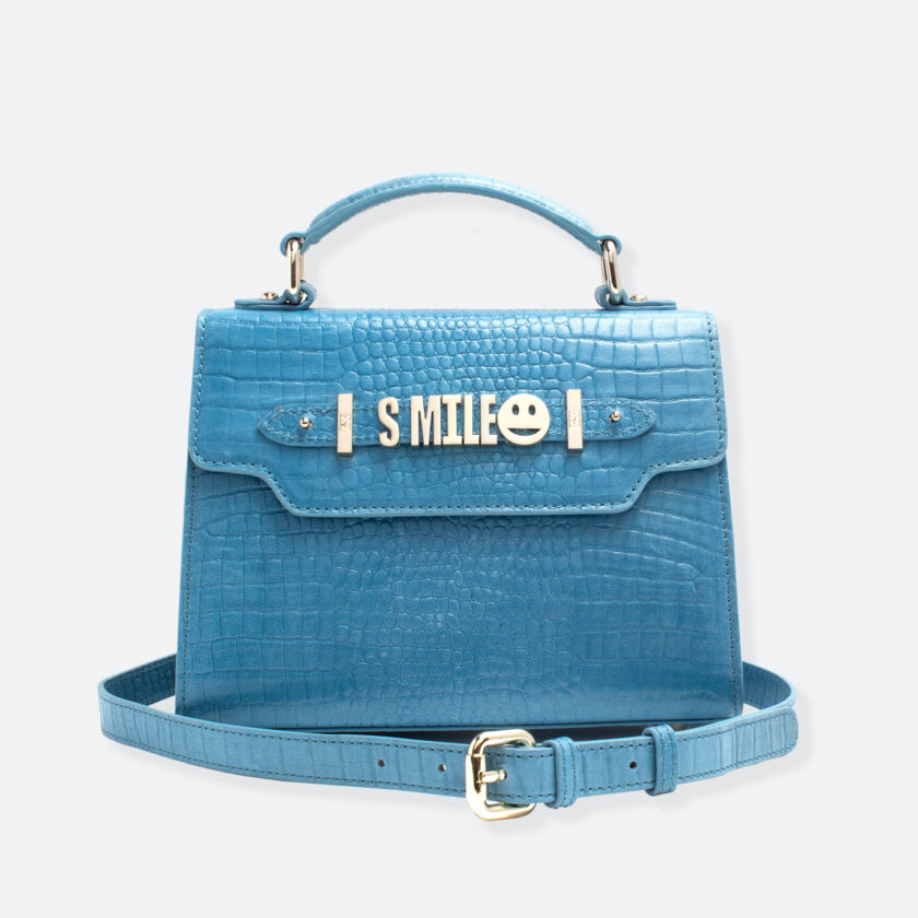 OhMart People By People - Leather Mini Martini Handbag ( Blue - Crocodile skin ) 1