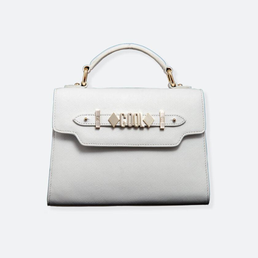 OhMart People By People - Leather Mini Martini Handbag ( White ) 3