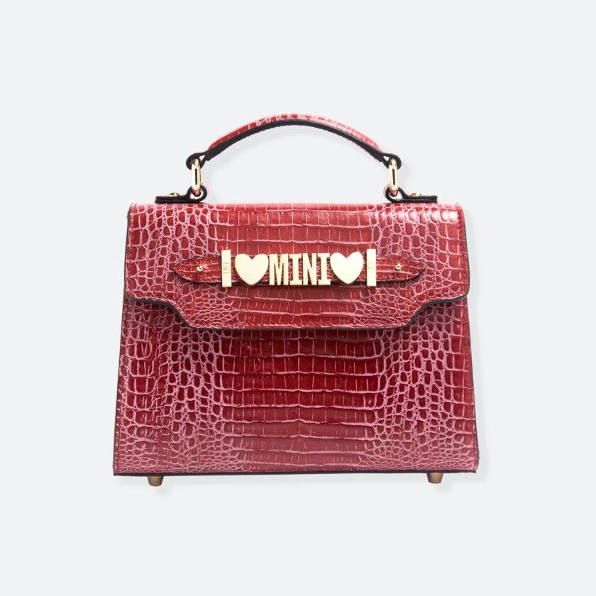 OhMart People By People - Leather Mini Martini Handbag ( Red - Crocodile skin ) 3
