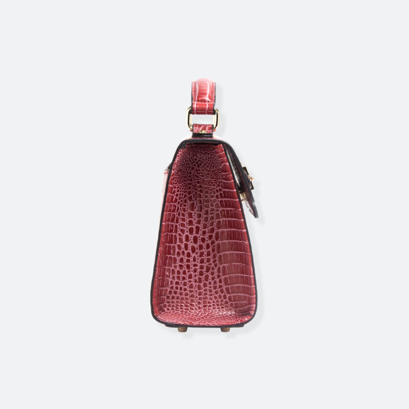 OhMart People By People - Leather Mini Martini Handbag ( Red - Crocodile skin ) 2