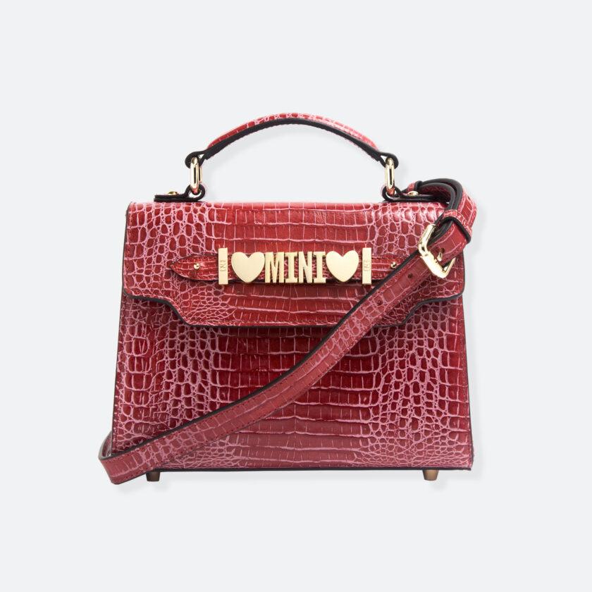 OhMart People By People - Leather Mini Martini Handbag ( Red - Crocodile skin ) 1