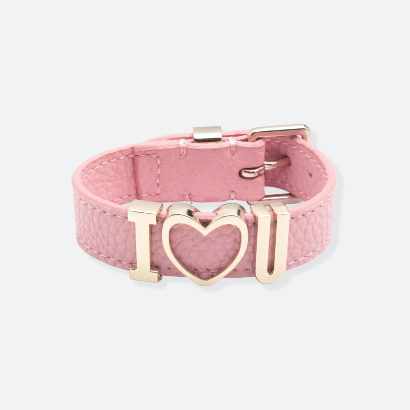 OhMart People by People - Playful Customizable leather Bracelet (Light Pink – Litchi Pattern) 1