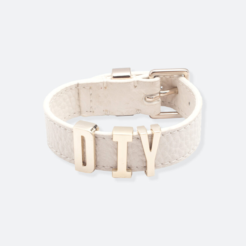 OhMart People by People - Playful Customizable leather Bracelet (White - Litchi Pattern) 1