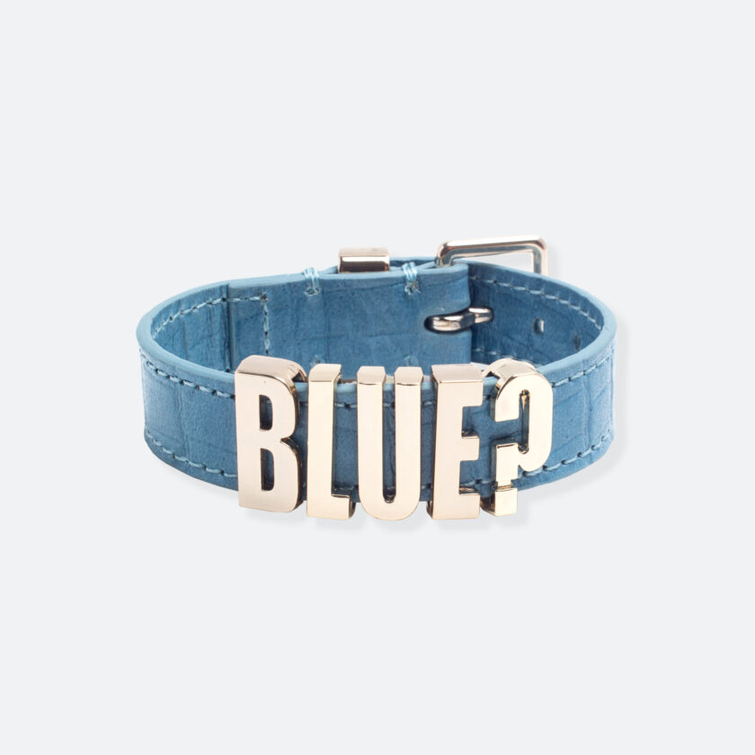 OhMart People by People - Playful Customizable leather Bracelet (Blue - Crocodile skin) 1