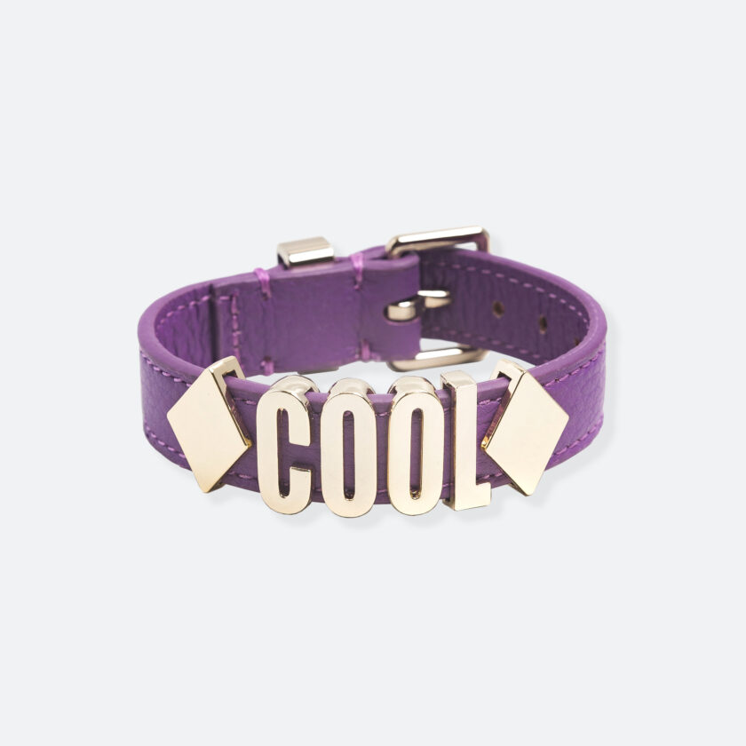 OhMart People by People - Playful Customizable leather Bracelet (Purple - Litchi Pattern) 1