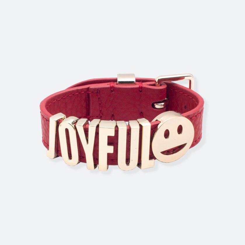 OhMart People by People - Playful Customizable leather Bracelet (Red – Litchi Pattern) 1