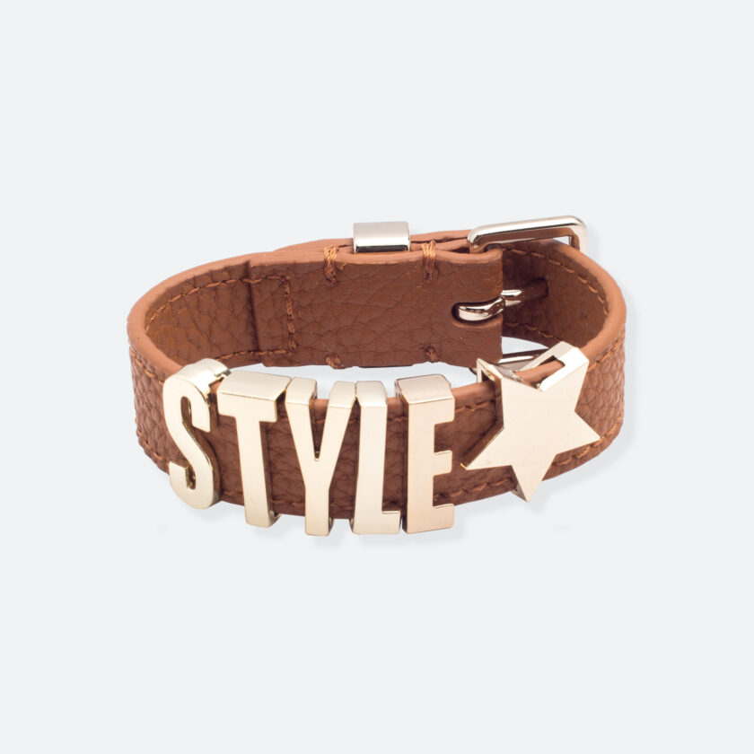 OhMart People by People - Playful Customizable leather Bracelet (Brown – Litchi Pattern) 1