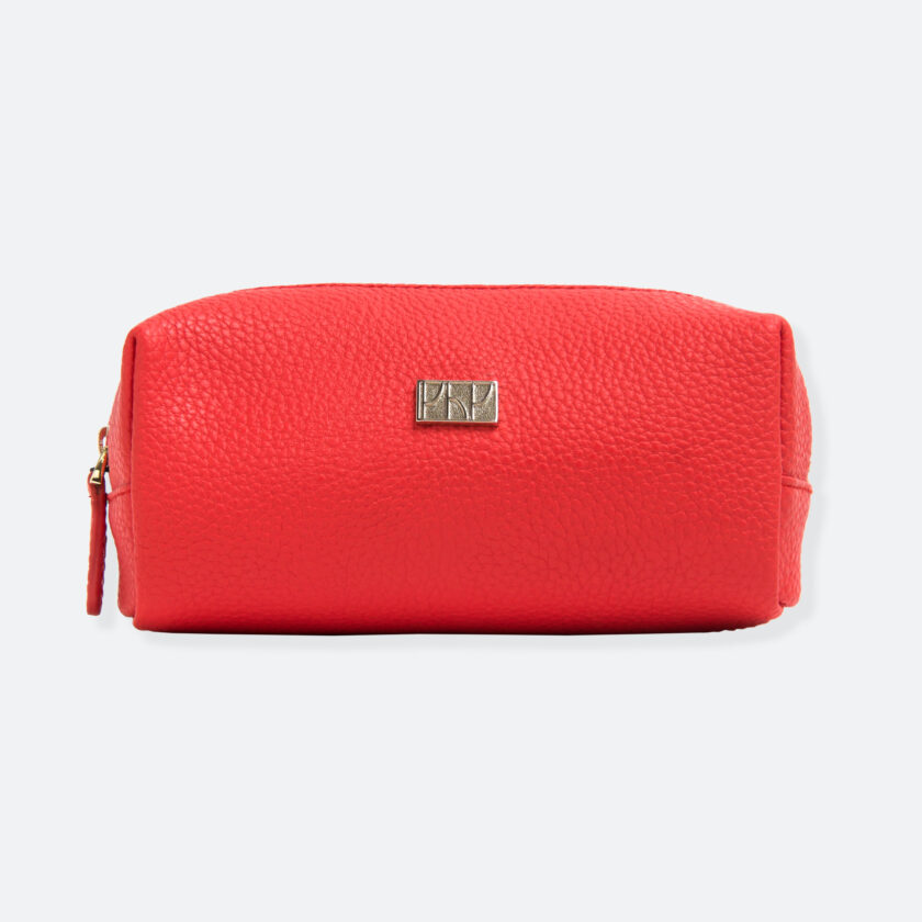 OhMart People By People - Leather Pencil Case / Make-Up Bag ( SLG006 - Orange Red ) 1