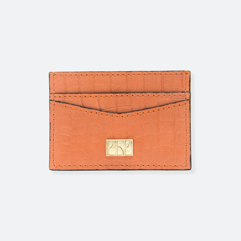 OhMart People By People - Leather Cardholder ( SLG007 - Orange - Crocodile skin ) 1