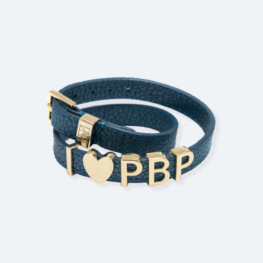 OhMart People by People - SLG011 Customizable leather Bracelet (Blue - Litchi Pattern) 1