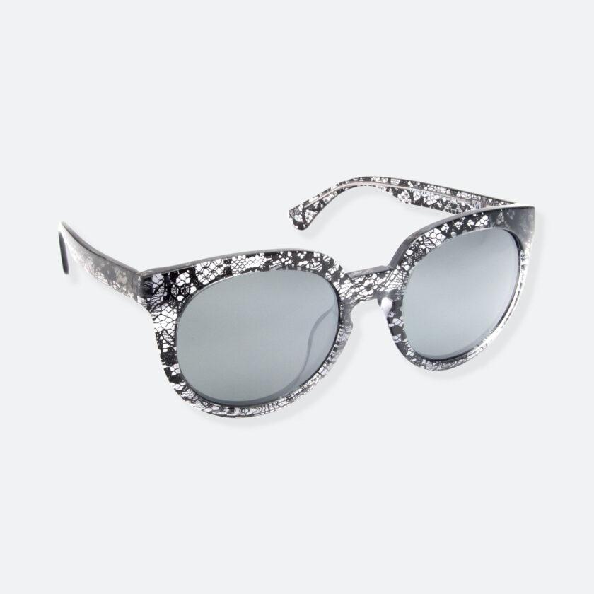 OhMart People By People - Wayfarer Round Acetate Sunglasses ( JFF002 - Transparent Black - Lace Pattern ) 2