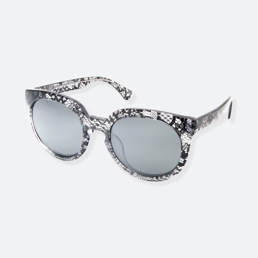 OhMart People By People - Wayfarer Round Acetate Sunglasses ( JFF002 - Transparent Black - Lace Pattern ) 3