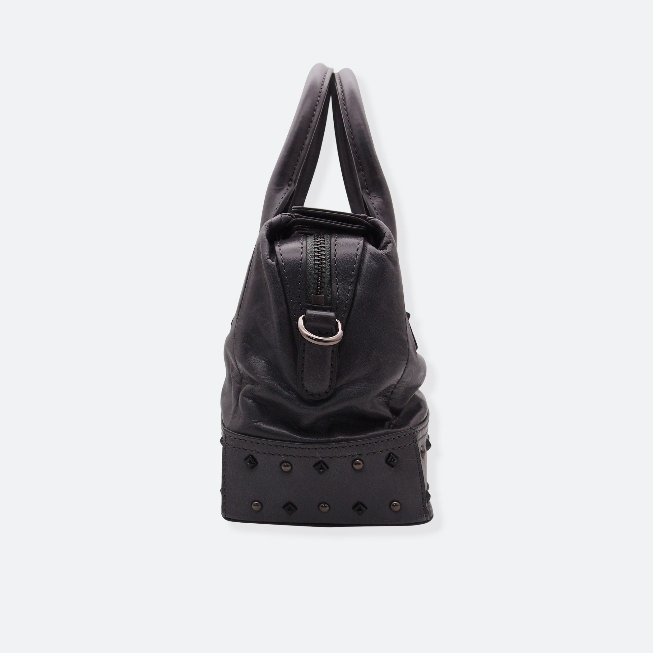 OhMart People By People – Leather Ding Satchel ( Black / Silver Ding ) 3
