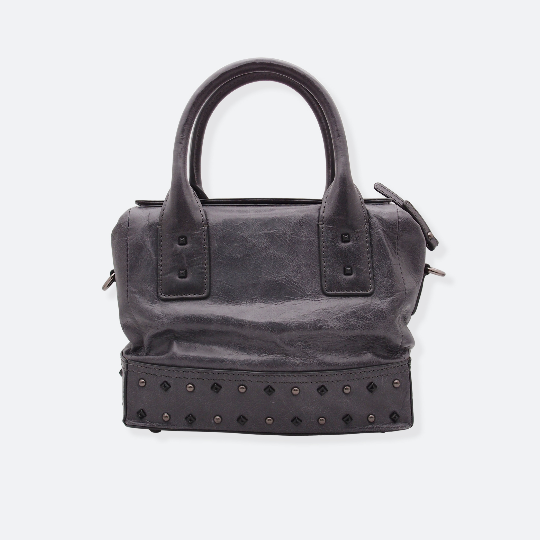 OhMart People By People – Leather Ding Satchel ( Black / Silver Ding ) 4