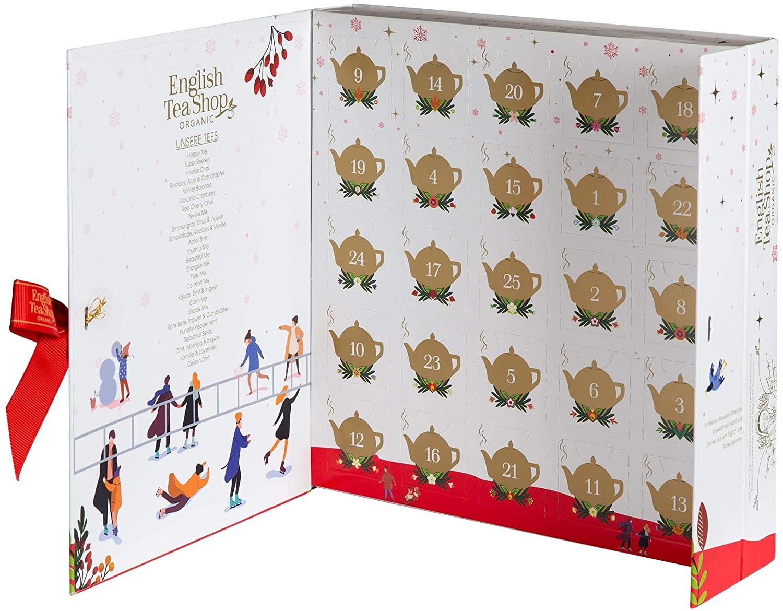 OhMart English Tea Shop Organic - Book Style White Wellness Advent Tea Calendar 2